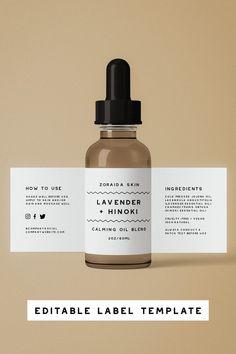 Printable Essential Oils Label Template, DIY Instant Download Dropper Bottle Design, Dropper Bottle Template for Cosmetics, Easy Edit #madebybungalow #essentialoils #oilslabel