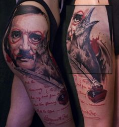 NOT your typical Edgar Allen Poe tattoo!  Tattoo by Lippo Tattoo.  [Slide 2 of 18.]