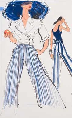 By Kenneth Paul Block, 1 9 8 8, models in resort wear by Perry Ellis, Ralph Lauren, Women's Wear Daily.