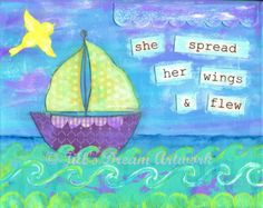 Sailboat Art Print, Inspirational Print, Fly, Bird, Ocean, Sea, 8x10 print of mixed media painting on Etsy, $16.00