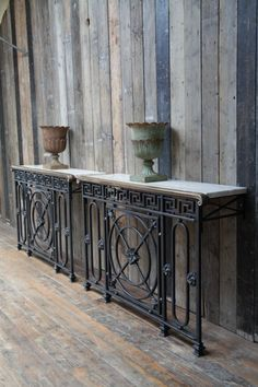 A pair of cast iron console tables Iron Console Table, Iron Table, Iron Furniture, Painted Furniture, Balustrades, Rustic Industrial, Decoration, Repurposed, Diy Home Decor