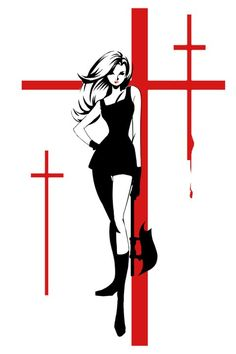 Fashion and Action: Heroines by Sho Murase - Catwoman, Leia and Buffy in Graphic Black & White