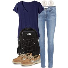 250. Blue Shirt & Sperry Outfit by kgarcia8427 on Polyvore featuring polyvore fashion style LAmade Frame Denim Sperry The North Face Henri Bendel clothing Summer casual outfit college