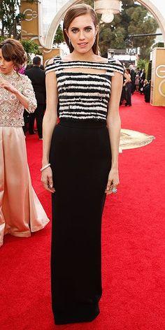 Allison Williams  in Alexander McQueen at The 2014 Golden Globes