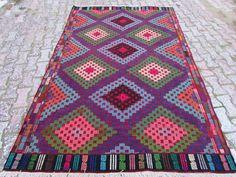 "Anatolian Turkish Classic Kilim Rug Carpet 70"" x 104"" (167cm x264cm)"