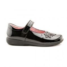 Fleur, Black Patent Riptape Girls School Shoes - Girls - School Shoes http://www.startriteshoes.com/school-shoes/