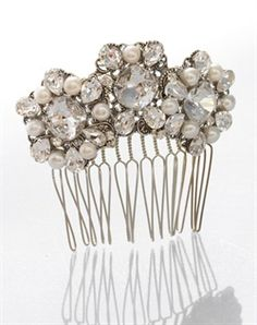 Swarovski crystal and fresh water pearl comb