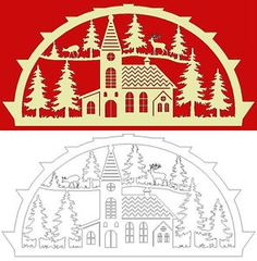Schwibbogen-Vorlage-Kirche-im-Wald German Christmas Ornaments, Wooden Christmas Decorations, Christmas Baubles, Christmas Crafts, Christmas Stencils, Christmas Templates, Christmas Clipart, Paper Cutting Patterns, Enchanted Wood