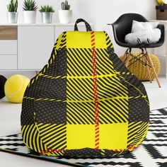 Yellow Tartan Passion Bean Bag Chair – This is iT Original Bag Chairs, Tartan, Bean Bag Chair, Beans, Just For You, Passion, Yellow, Cover, Interior