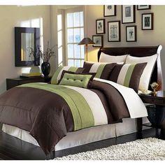8 Pieces Luxury Stripe Green, Brown, Beige Comforter Bed In A Bag Set Full  Size In Home U0026 Garden, Bedding, Comforters U0026 Sets