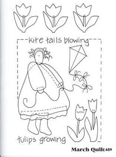 Art to Heart Tulips Growing. Hand Embroidery Patterns, Applique Patterns, Applique Quilts, Embroidery Applique, Embroidery Stitches, Quilt Patterns, Embroidery Designs, Sewing Patterns, Broderie Primitive