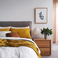 545 Likes, 46 Comments - Michelle Hart Warm Bedroom Colors, Cozy Bedroom, Bedroom Inspo, Home Decor Bedroom, Grey Bed Frame, Grey Headboard, Suites, Room Inspiration, Interior Design
