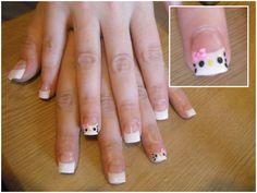 Simple Hello Kitty Acrylic Nails, super cute