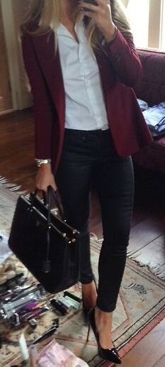 Burgundy blazer with white button down shirt and skinny black pants