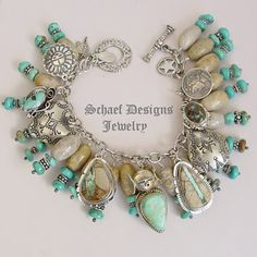 Schaef Designs boulder turquoise, fossil coral,turquoise & Sterling Silver  Native American Charm Bracelet Necklace   Schaef Designs Southwestern & turquoise Jewelry   New Mexico