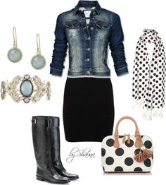 7a2e4bbd9b3 Denim jacket paired with a white tank and black pencil skirt. Add knee high  black equestrian boots and polka dot accessories. Michelle Bentley-lyngholm