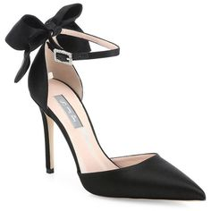 SJP by Sarah Jessica Parker Women's Trance Satin Point Toe Bow Pumps ($395) ❤ liked on Polyvore featuring shoes, pumps, black, black pumps, pointed toe pumps, satin pumps, black stiletto pumps and black shoes