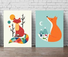 Wall sticker fox orange poster set fox poster large format set, wolf wall colorful art fox for room Nursery animals forest children 208 Source by sboudvin A0 Poster, Art Fox, Kids Bedroom Paint, Wolf Kids, Kids Poster, Mid Century Art, Animal Nursery, 4 Kids, Wall Sticker