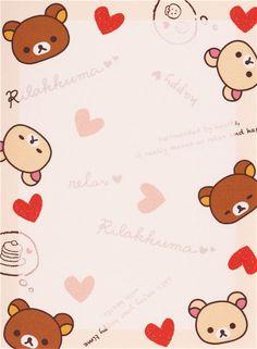 Japanese white Rilakkuma bear chick hearts mini Note Pad San-X 4
