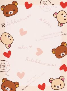 Japanese white Rilakkuma bear chick hearts mini Note Pad San-X 4