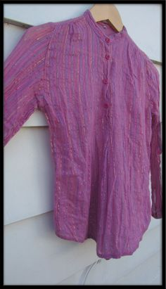 VINTAGE Hippie cotton ethnic made in INDIA Pink gauze glitter metallic thread top. via Etsy.