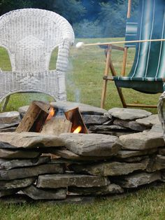 old stone l new fire pit