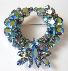 Vintage SHERMAN Brooch Blue Aurora Borealis RHINESTONES!!  Signed Estate Jewelry by PASTIMEJEWELS on Etsy https://www.etsy.com/ca/listing/289968059/vintage-sherman-brooch-blue-aurora