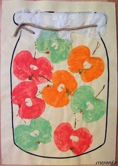 cool, easy and kids gonna learn something for sure Diy Crafts For Kids, Art For Kids, Arts And Crafts, Autumn Crafts, Autumn Art, Toddler Crafts, Preschool Crafts, Fall Art Projects, Apple Prints