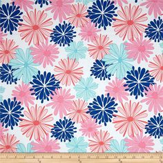Riley Blake Floriography Large Floral Blue from @fabricdotcom Designed by Chelsea Anderson for Riley Blake, this cotton print is perfect for quilting, apparel and home decor accents. Colors include white, shades of pink, shades of coral and shades of blue.