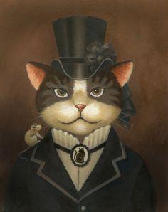 Victorian Lady Cat Portrait. $20.00, via Etsy.