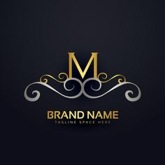 M logo with golden ornaments Free Vector