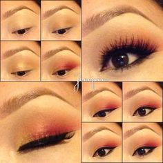 Yellow pink sunrise makeup tutorial