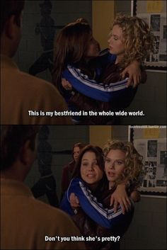 Peyton and Brooke, One Tree Hill, OTH Lmao Brooke was loopy from taking those pain killers..