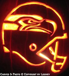 Seahawks Pumpkin Carving Patterns Templates | Seahawk Pumpkin Stencil