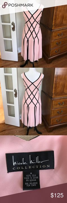 Nicole Miller Collection dress Beautiful pink and black Gladiator-inspired ribbon dress. A limited collection piece. Worn once. Excellent condition. Nicole Miller Dresses Midi