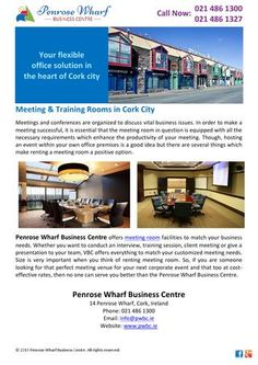 Meetings and conferences are organized to discuss vital business issues. In order to make a meeting successful, it is essential that the meeting room in question is equipped with all the necessary requirements which enhance the productivity of your meeting. http://issuu.com/penrosewharf/docs/meeting___training_rooms_in_cork_ci