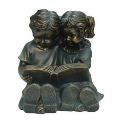 Hi-Line Gift Ltd. Two Kids Reading a Book Statue