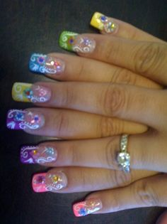 Nail Art :: Spring Colored Tips With White Floral Design.