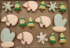 Winter Wonderland Royal Icing Sugar Cookies by @cookiesbykatewi #winter #polarbears #trees #snow #mittens #snowflakes #cookiedecoration