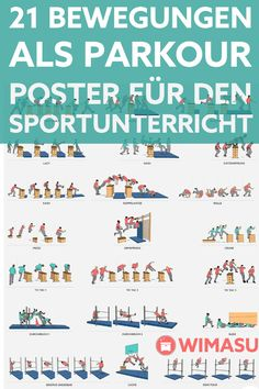 We do physical education. - The parkour and freerunning movements on a double-sided poster and as digital single movement cards - Parkour Moves, Parkour Kids, Parkour Workout, Kickboxing Workout, School Sports, Kids Sports, Secondary School, Primary School, Kids Am