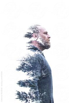 An in camera double exposure portrait of a bearded man and a forest Indoor Photography, Action Photography, People Photography, Creative Photography, Portrait Photography, Photography Ideas, Double Exposure Effect, Future Photos, Creative Portraits