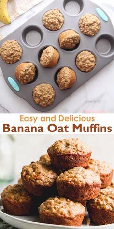 Banana Oatmeal Muffins, Healthy Breakfast Muffins, Healthy Muffin Recipes, Banana Oats, Healthy Baking, Baby Food Recipes, Banana Muffins With Yogurt, Oatmeal Banana Muffins Healthy, Healthy Good Food
