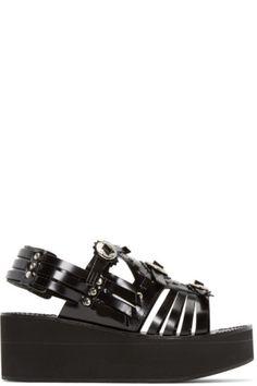 Toga Pulla - Black Multistrap Platform Sandals