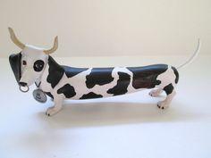 hot diggity dog figurines | Hot Diggity Dog All Beef Wiener Figurine Dachshund Black and White ...