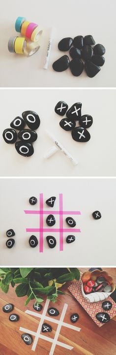 Good outdoor game while camping. Use rocks, no need to paint them.  tic-tac-toe game