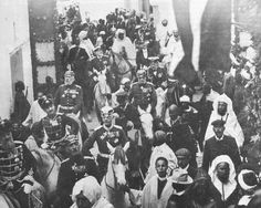 March 1905, the German delegation marches through Tangiers, the visit which sparked a major international crisis with talk of war between Germany and France, with the possibility that Britain might join France. At the height of the crisis, the rumors of war in France were so serious that men purchased vast quantities of socks and boots in preparation for mobilization. The French even cancelled all military leave. Eventually, the Algeciras Conference was held to settle the dispute.