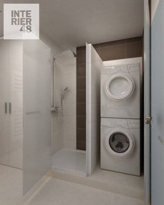Laundry Bathroom Combo, Small Laundry Rooms, Tiny House Bathroom, Laundry Room Design, Basement Bathroom, White Bathroom, Bathroom Interior, Modern Bathroom, Interior Design Living Room