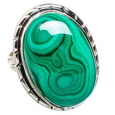 Ana Silver Co Large Malachite 925 Sterling Silver Ring Size 8.25 RING829353