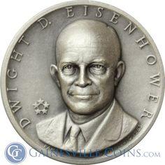 Dwight D. Eisenhower Adams Presidential Silver Art Medal http://www.gainesvillecoins.com/category/293/silver.aspx