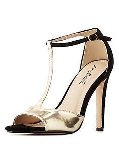 597ef2c148cc Color Block Metallic T-Strap Heels T Strap Heels